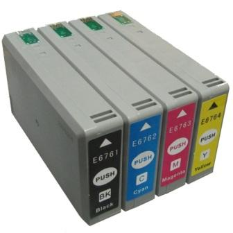 T676XL Compatible Four Cartridge Set for EPSON WORKFORCE PRO WP-4020 4090 4530 4540 4590 -Up to 2400 pages at 5% page coverage